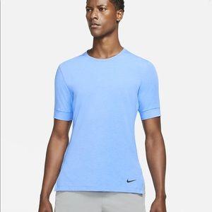 NWT Nike L blue yoga tee short sleeves dry